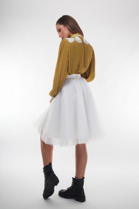 Bluza eleganta galbena din voal plisat 2