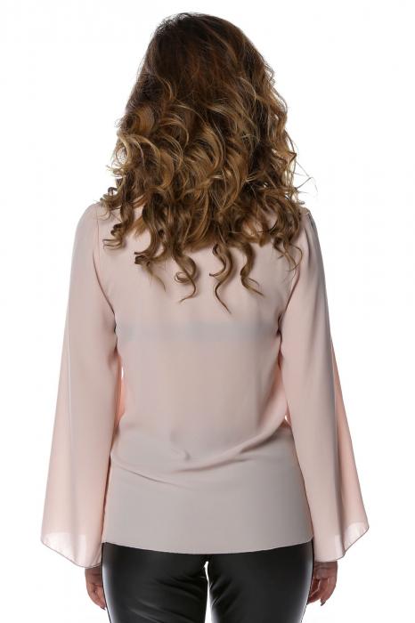 Bluza eleganta din voal nude cu aplicatii negre B118 2