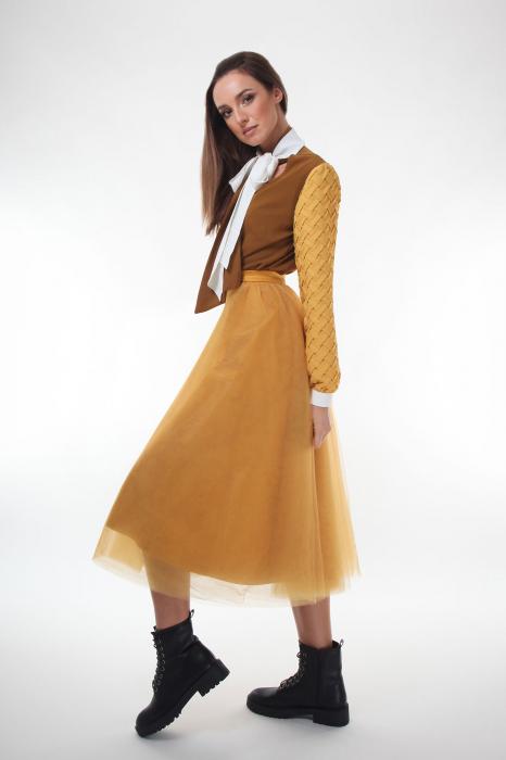 Bluza eleganta Dark Almond cu guler cu funda dubla 2