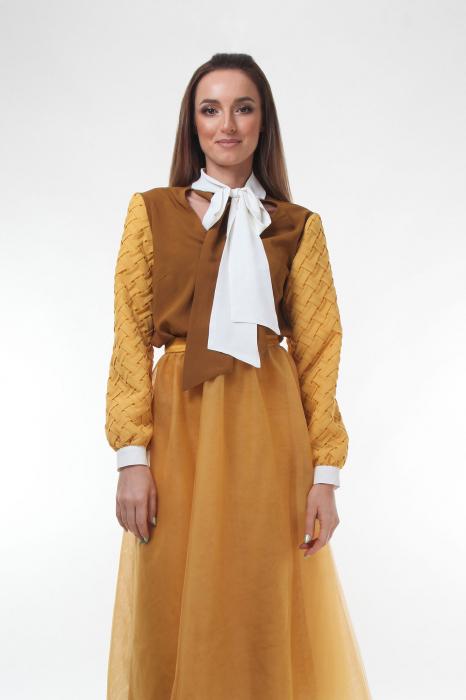 Bluza eleganta Dark Almond cu guler cu funda dubla 1