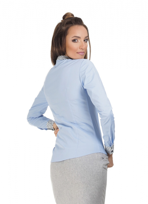 Camasa dama office bleu cu funda si volans 1