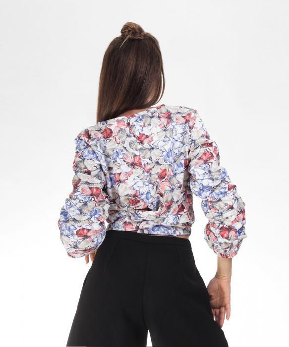 Bluza din bumbac cu imprimeu floral si maneci lungi [1]
