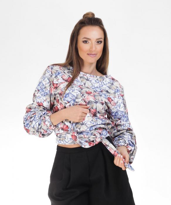 Bluza din bumbac cu imprimeu floral si maneci lungi [0]