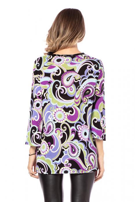 Bluza lejera cu imprimeu multicolor si maneci trei sferturi [3]