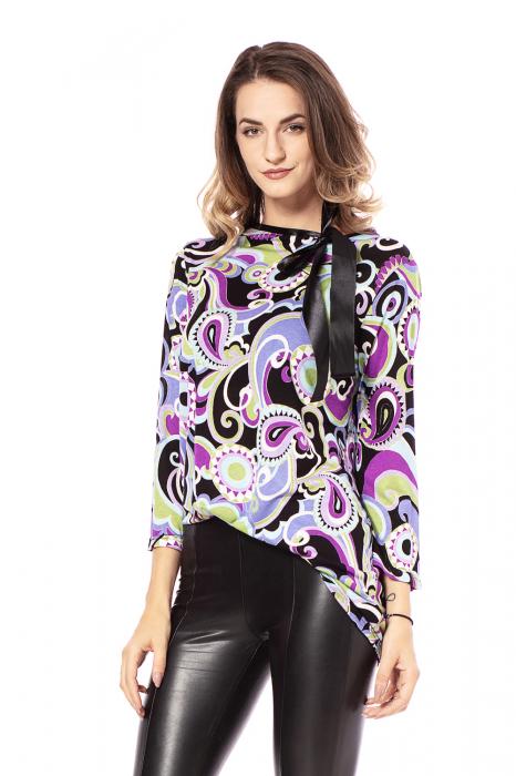 Bluza lejera cu imprimeu multicolor si maneci trei sferturi [0]