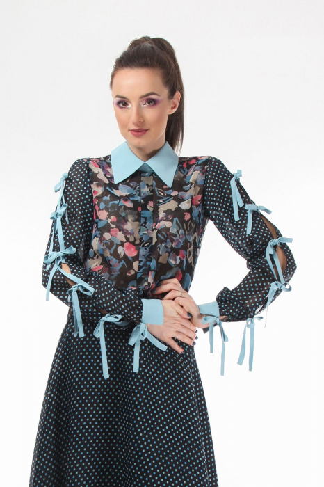 Bluza office din voal mixed prints
