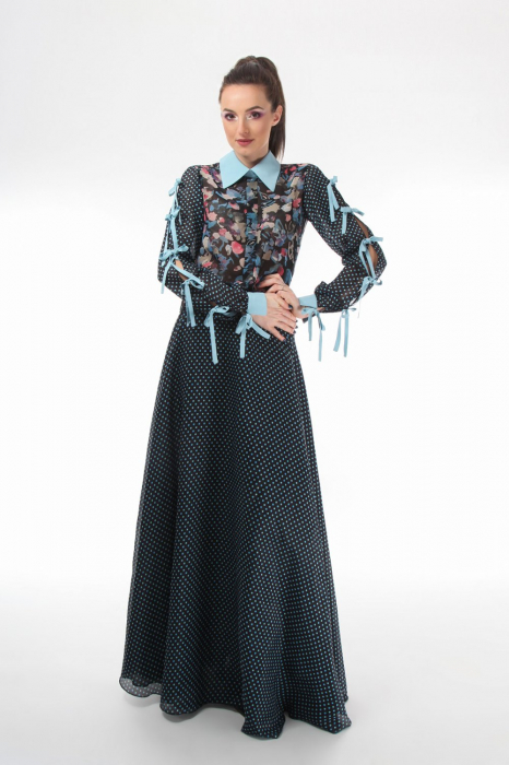 Bluza office din voal mixed prints 1