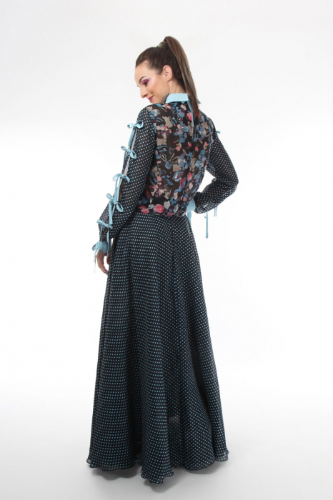 Bluza office din voal mixed prints 2