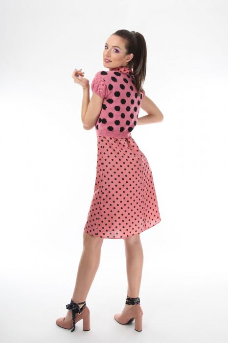 Top dama tricotat roz cu buline negre 2