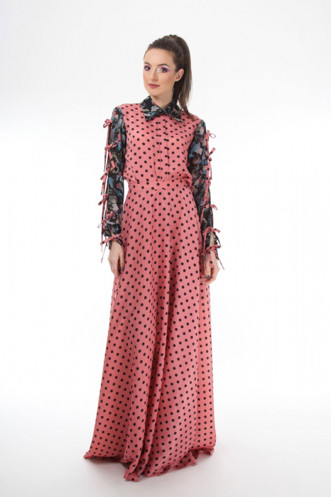 Bluza office roz din voal mixed prints 2