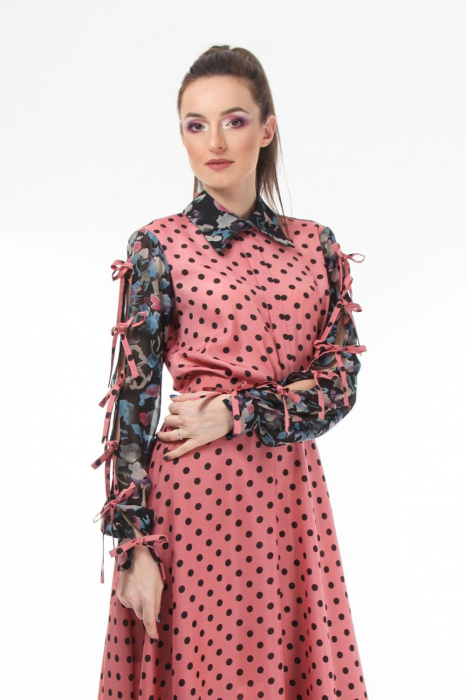 Bluza office roz din voal mixed prints 0