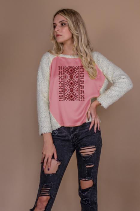 Bluza raglan oversize cu maneci lungi si imprimeu traditional 1