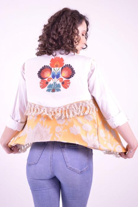 Vesta din brocart cu guler supradimensionat si imprimeu floral Folklore 2