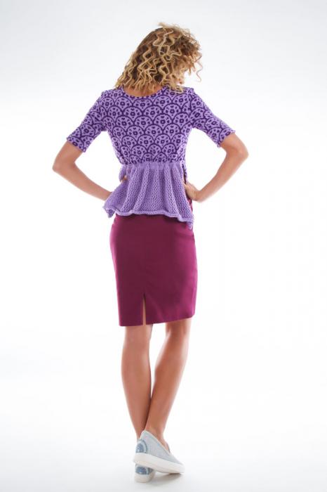 Bluza tricotata asimetrica lila 1