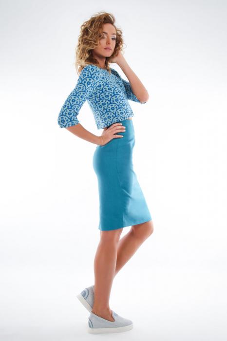 Bluza tricotata scurta turcoaz 1