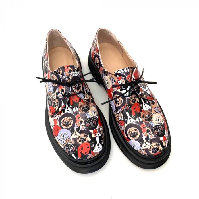 Pantofi din piele naturala cu imprimeu multicolor Dogs Clara 3