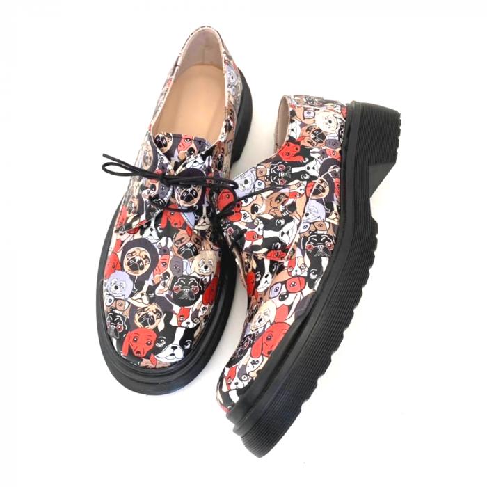 Pantofi din piele naturala cu imprimeu multicolor Dogs Clara 1