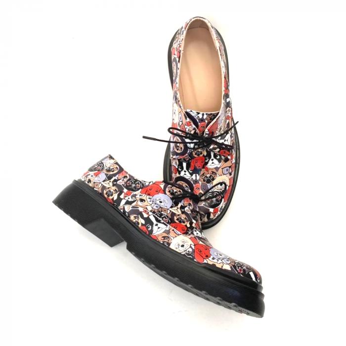 Pantofi din piele naturala cu imprimeu multicolor Dogs Clara 2