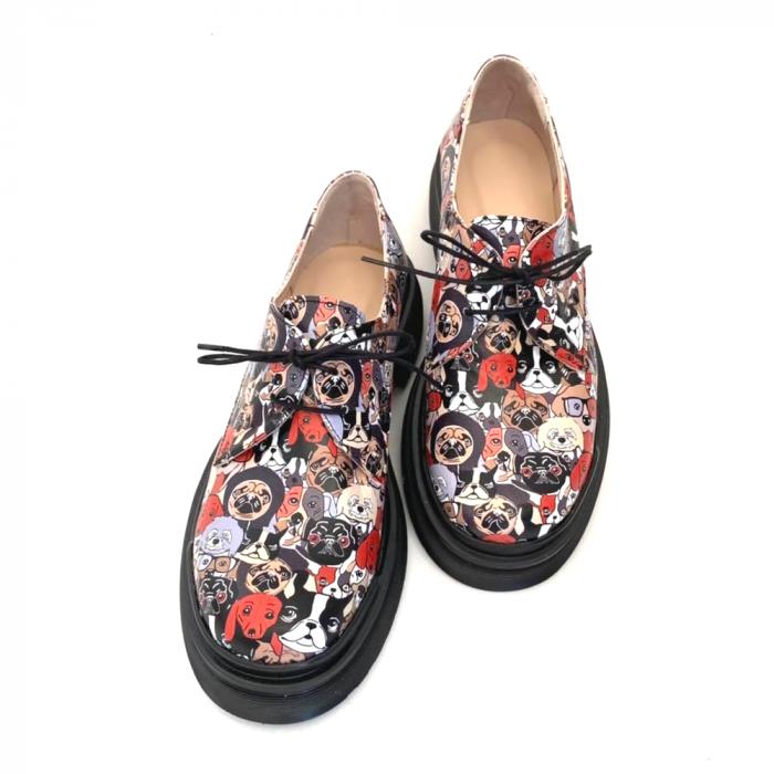 Pantofi din piele naturala cu imprimeu multicolor Dogs Clara 0