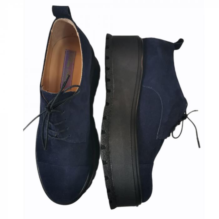 Pantofi dama din piele naturala cu platforma Blue Navy [2]