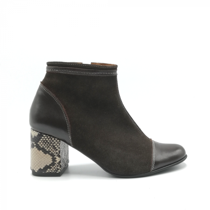 Botine din piele naturala cu toc gros Brown Snake 0