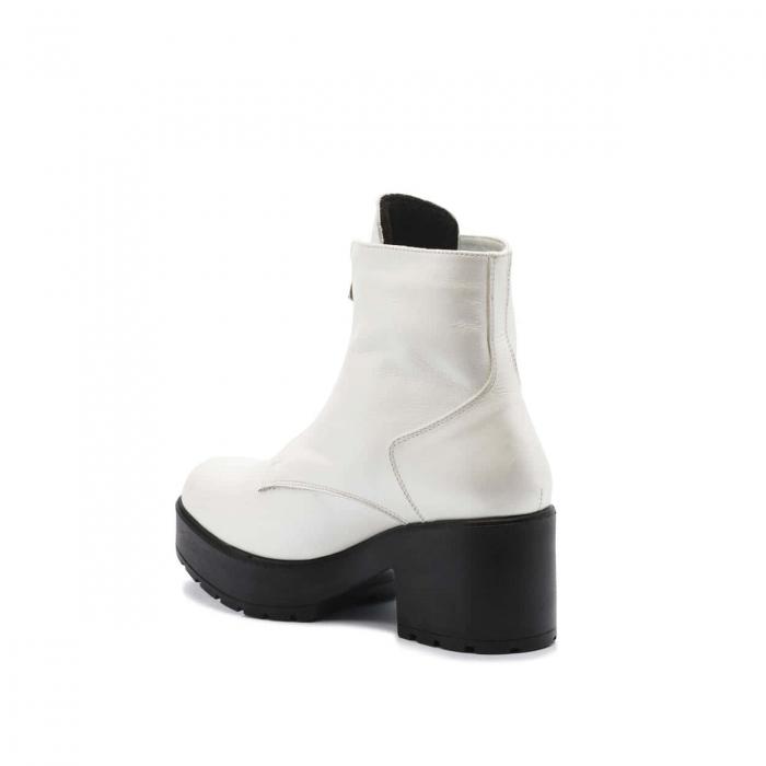 Ghete alb sidef cu toc gros platforma si fermoar din piele naturala CB20 3