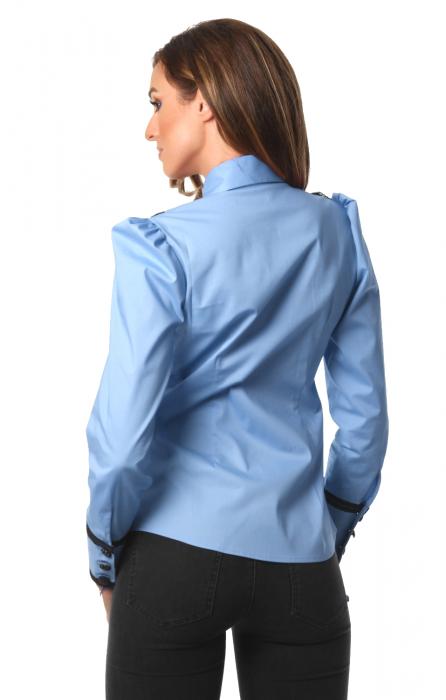 Camasa office albastra cu jabou si maneci lungi 1