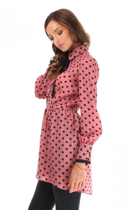 Camasa casual cu maneci lungi roz cu buline 1