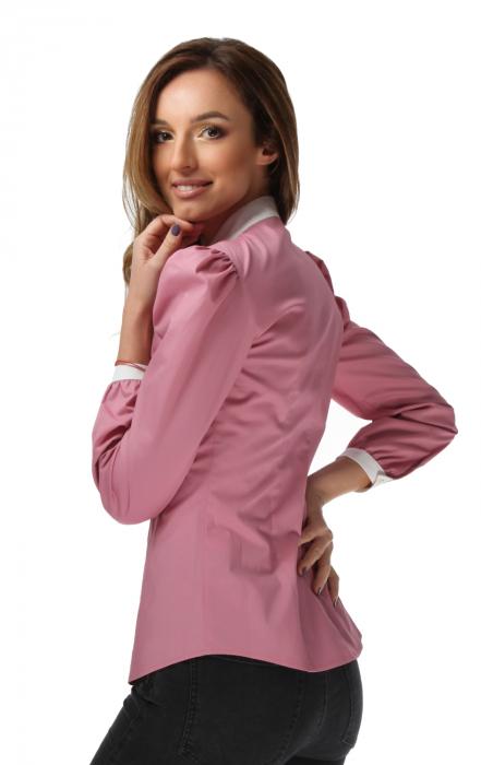 Camasa dama office roz cu funda alba [2]