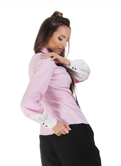 Camasa dama office roz cu funda si insertii albe la maneci 2