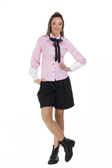 Camasa dama office roz cu funda si insertii albe la maneci 1