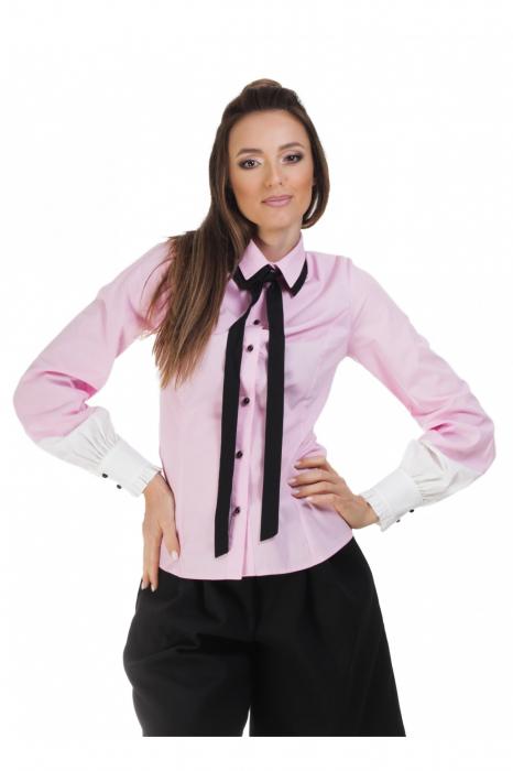 Camasa dama office roz cu funda si insertii albe la maneci 0