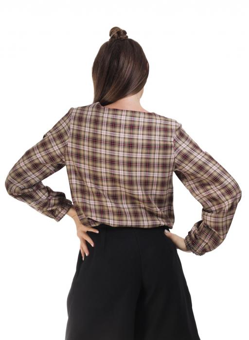 Bluza dama casual din bumbac in carouri 2