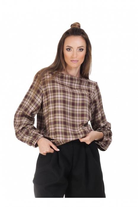 Bluza dama casual din bumbac in carouri 0