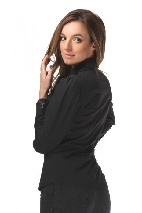 Camasa dama office neagra cu jabou din bumbac si dantela 1