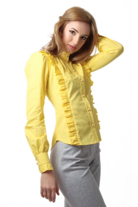 Camasa dama office galbena cu volanase si cu guler rusesc 1