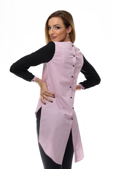 Camasa dama asimetrica cu nasturi la spate 1