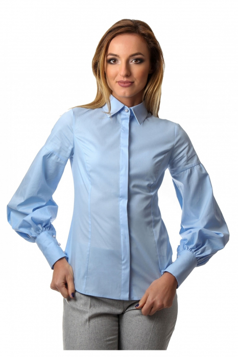 Camasa dama office bleu cu maneci bufante si fenta dubla 0