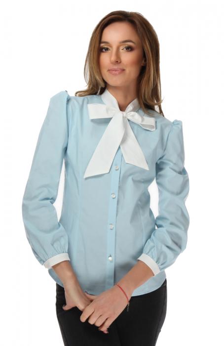 Camasa dama office bleu cu funda alba 0