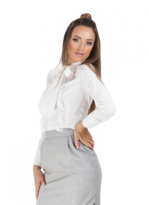 Camasa dama office alba cu funda si dantela 1