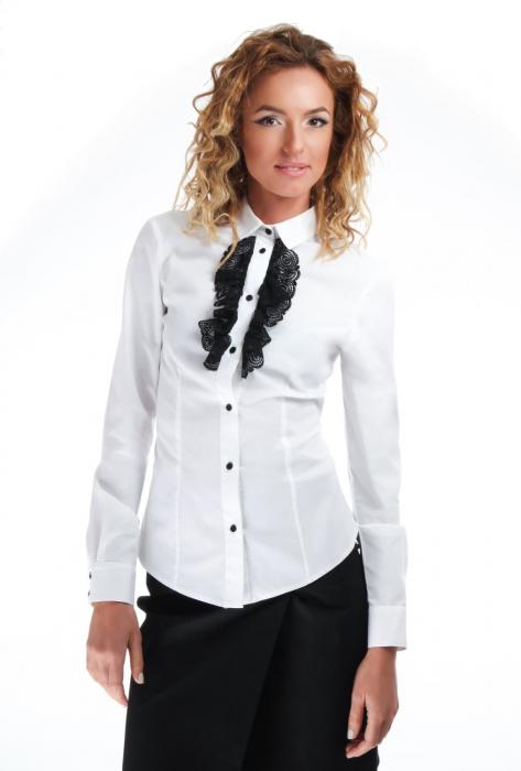 Camasa dama office alba cu jabou negru din dantela 0