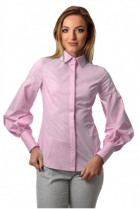 Camasa dama office roz cu maneci bufante si fenta dubla 0