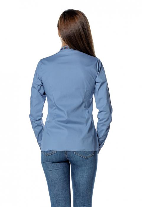 Camasa office albastra cu banda multicolora aplicata B150