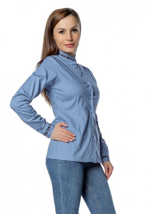 Camasa office albastra cu banda multicolora aplicata B150 1