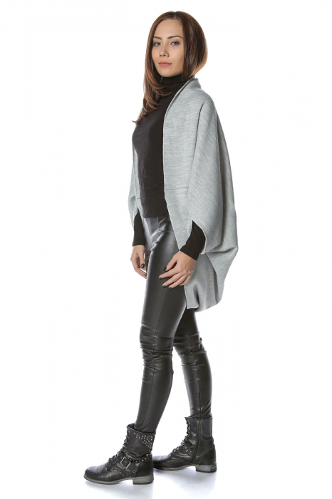 Cardigan scurt oversized Gri