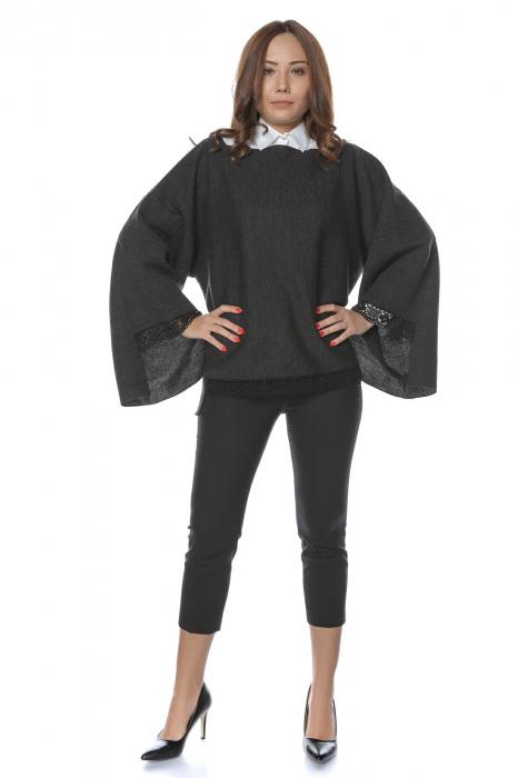 Pulover asimetric oversize cu doua fete Gri si Negru 0