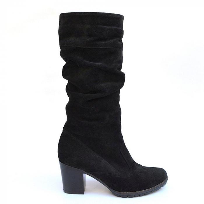 Cizme negre fronsate din piele Black Velvet 0