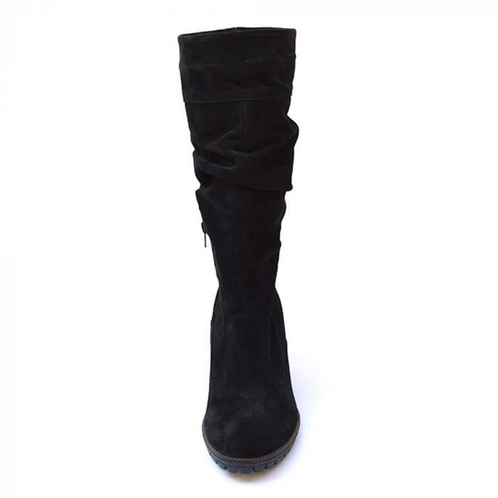 Cizme negre fronsate din piele Black Velvet 2