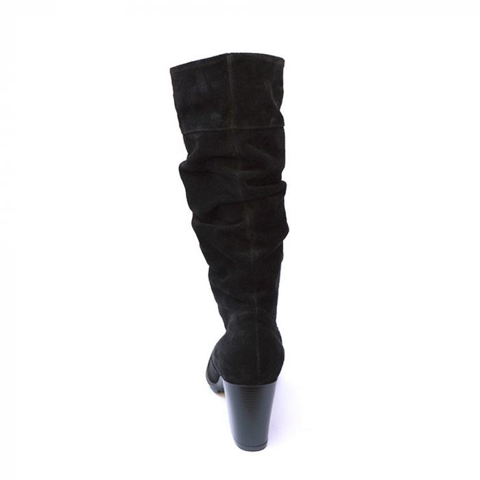 Cizme negre fronsate din piele Black Velvet 3