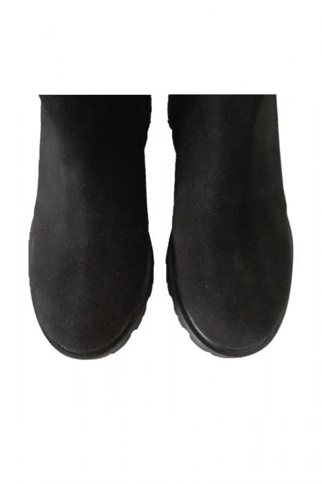 Cizme dama cu talpa joasa din piele intoarsa Vintage Black 2